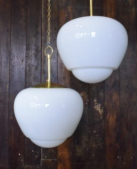 Large Original Art Deco Opaline Glass Light - 2 Available