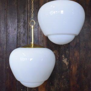 Large Original Art Deco Opaline Glass Light - 2 Available