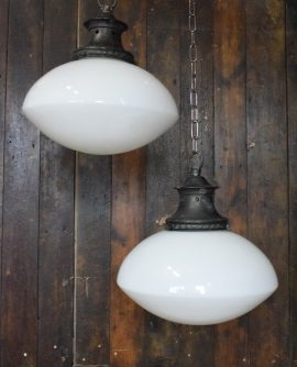 Original Art Deco Large Ovaloid Opaline White Glass Pendant Light