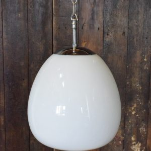 Vintage Opaline White Glass Tulip Pendant Light with Chrome Cap