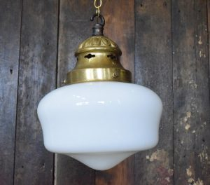 Extra Small Original Art Deco Opaline White Glass Chapel Light