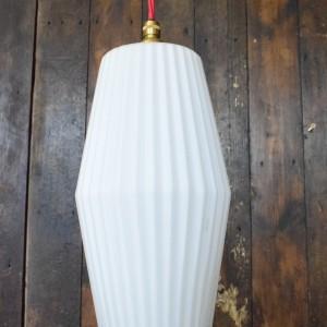 Slim Mid Century White Glass Pendant Light