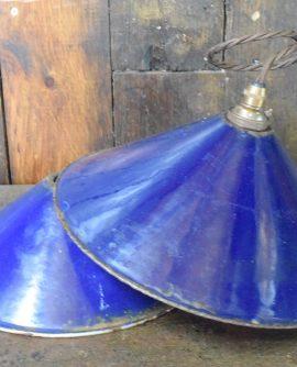 Vintage Blue Enamel Coolie Light
