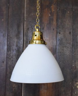 Heavy White Glass Pendant Light with Brass Gallery