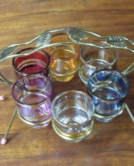 Vintage Set of Multi-Coloured Shot Glasses and Chrome Holder