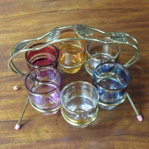 Vintage Set of Multi-Coloured Shot Glasses and Chrome Holder