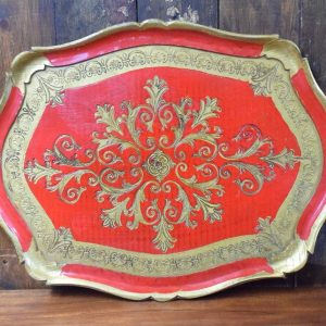 Red and Gold Antique Paper Mache Tray