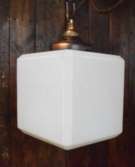 Original Art Deco Square Opaline White Glass Pendant Light