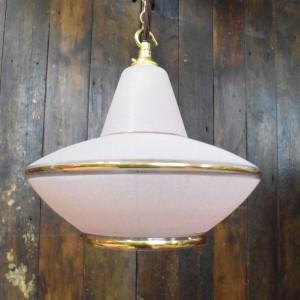 Original Mid Century Pink Flying Saucer Style Pendant light