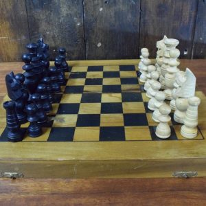 Vintage Chess Set with Board and Box