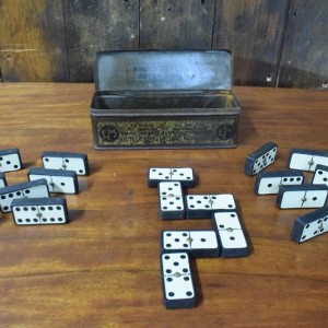 Antique Set of Dominoes in Original Tin