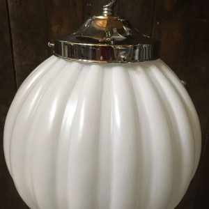 Vintage White Satin Glass Ball Light with Chrome Gallery