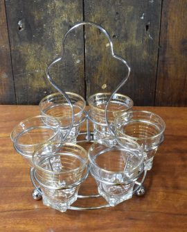 Vintage Set of  Shot Glasses in Holder