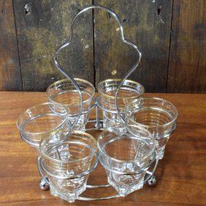 Vintage Set of  Shot Glasses in Holder