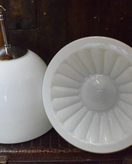 Vintage Czech Large White Opaline Glass Pendant Light with Flower Detail