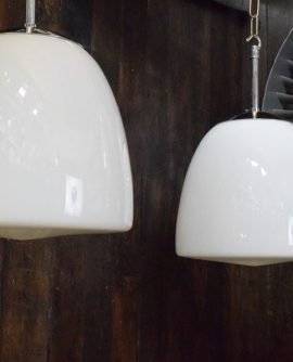 Medium White Opaline Glass Pendant Lights