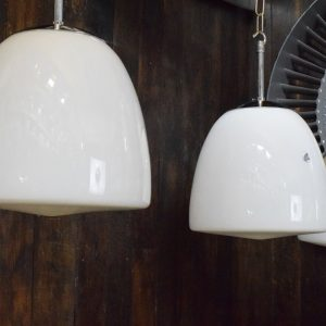 Medium White Opaline Glass Pendant Lights