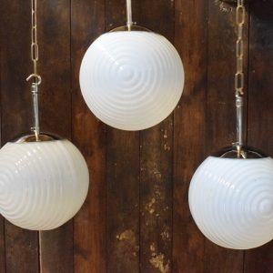 Vintage Opaline Glass Ball Lights with ridged pattern