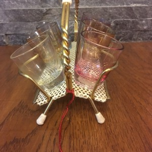 Set of  Six Vintage Shot Glasses in Holder