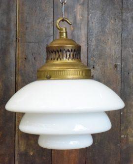 Genuine Art Deco Tiered White Opaline Glass Pendant Light