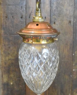 Vintage Cut Glass Acorn Pendant Light with detailed Copper Gallery