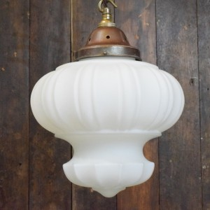 Fancy Patterned Art Deco White Satin Glass Pendant Light