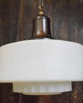 Extra Large White Satin Glass Art Deco Pendant Light