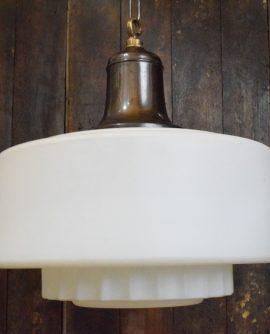 Extra Large White Satin Glass Art Deco Pendant Light