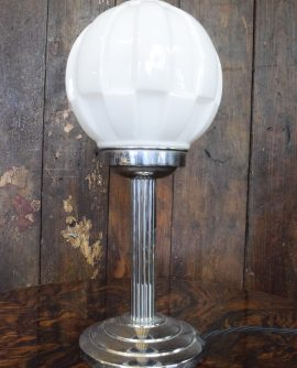 Original Art Deco Chrome Table Lamp with Opaline Glass Shade