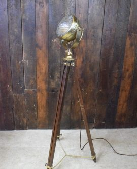 WWII wooden tripod fitted with Vintage Brass Raydyot Spot Light