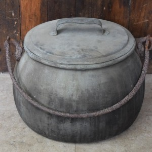 Extra Large Antique Copper Cooking Pot with Lid