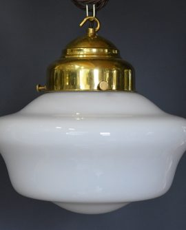 Art Deco White Opaline Glass School House Light