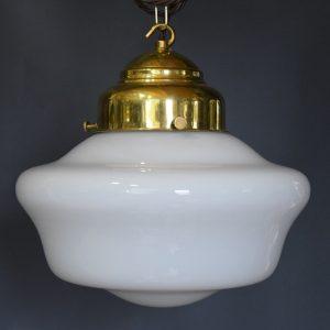 Art Deco White Opaline Glass School House Light