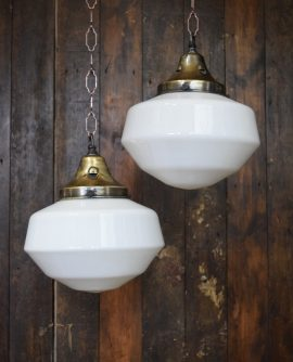 French Original Art Deco White Opaline Glass Pendant Light