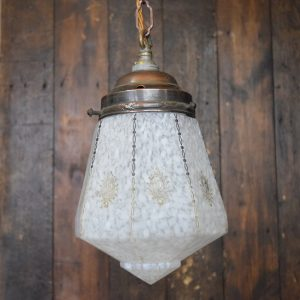 Small Art Deco Patterned Pendant Light with Brass Gallery