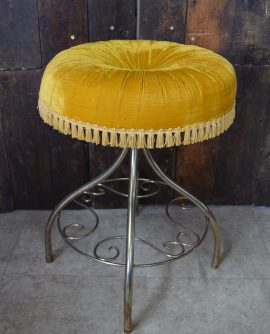 Vintage Tasselled Boudoir Stool - Yellow/Gold