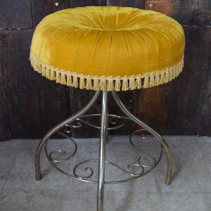 Vintage Tasselled Boudoir Stool - Yellow/Gold