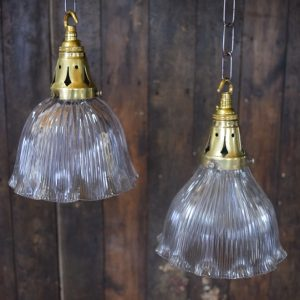 Small Vintage Holophane Pendant Light with Prismatic Shade