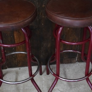 Vintage Leather Topped Red Bar Stool