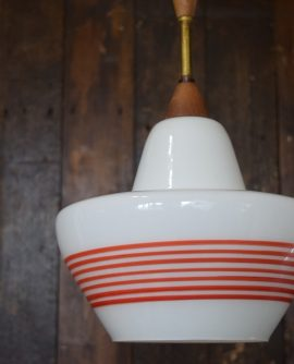 Mid - Century White & Red Glass Light Shade with Teak stem