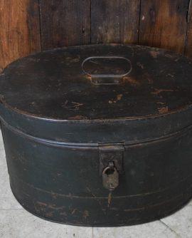 Vintage Dark Green Oval Metal Box with Vintage Lock & Key (Possibly a Hat Box)