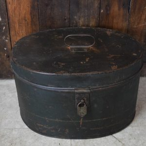 Vintage Dark Green Oval Metal Box with Vintage Lock & Key (Possibly a Hat Box)