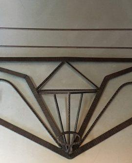 Art Deco Wrought Iron Coat Pegs/Cloakroom Shelf