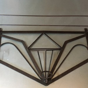 Art Deco Wrought Iron Coat Pegs/Cloakroom Shelf