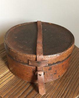 Antique Round Leather Collar Box