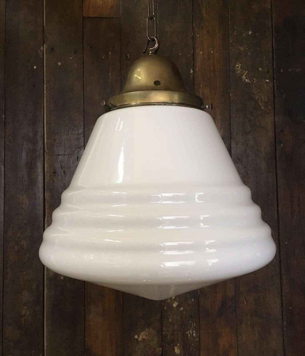 'Victoria' XL Cone Shaped Art Deco White Opaline Pendant