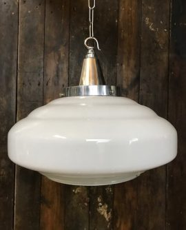 White Opaline Glass Mid Century Pendant Light