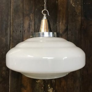 White Opaline Glass Mid Century Pendant Light