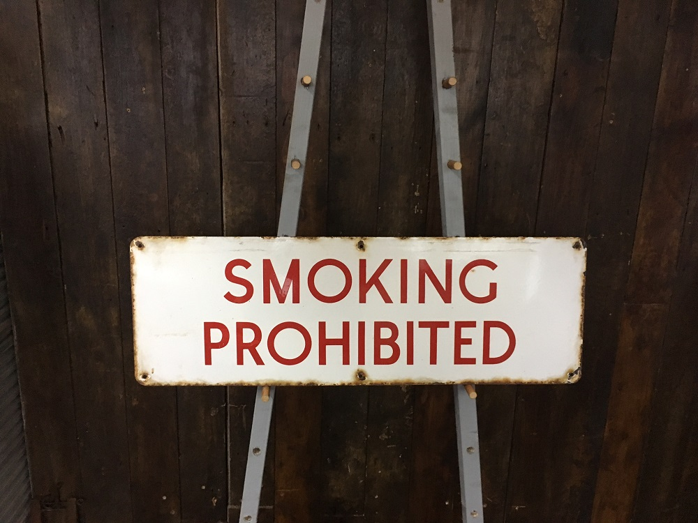 Large Smoking Prohibited Vintage Painted Tin Sign