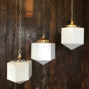 Hexagonal Art Deco Opaline Light